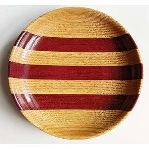 Other - Wood Striped Round Tray, 7 inches